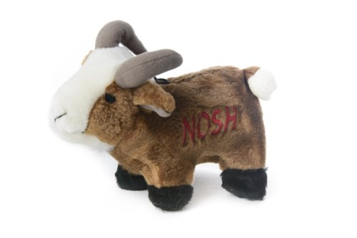 Copa Judaica Chewish Treat Nosh Goat Squeaker Plush Dog Toy, 6.5 by 4.5-Inch, Multicolor
