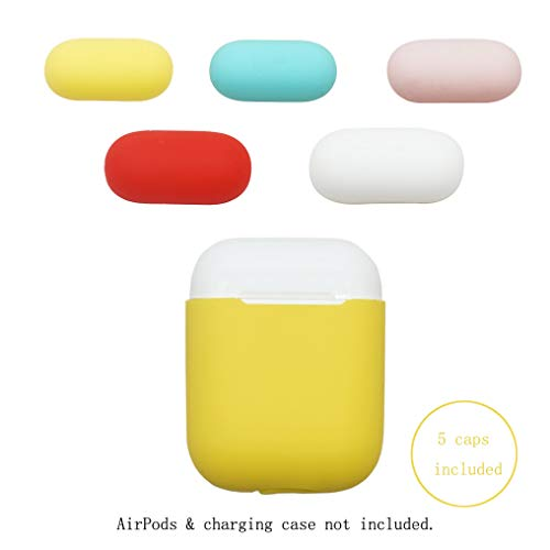 USSJ Compatible for AirPods case, Two Toned Ultra Thin Designed, Premium Silicone Protective case for AirPods (Yellow with White, Mint Green, Red, Pink Caps) -