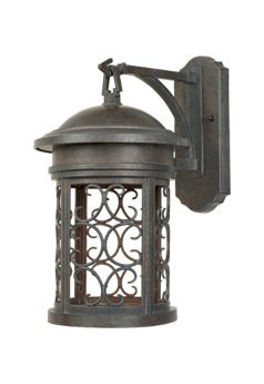 Mediterranean Patina 1 Light 9in. Wall Lantern from the Dark Sky Barrington Collection by Designers Fountain