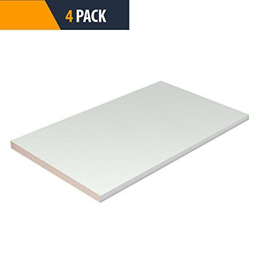 Closet Shelves with White PVC Flexible t-Molding Edge Banding - White Color - 16'' D x 24'' W - Choose Your Size - PROPACK 4 by TFKitchen