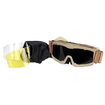 Desert Tan Kit de gafas de tres lentes intercambiables t/ácticas para seguridad y con flujo de aire