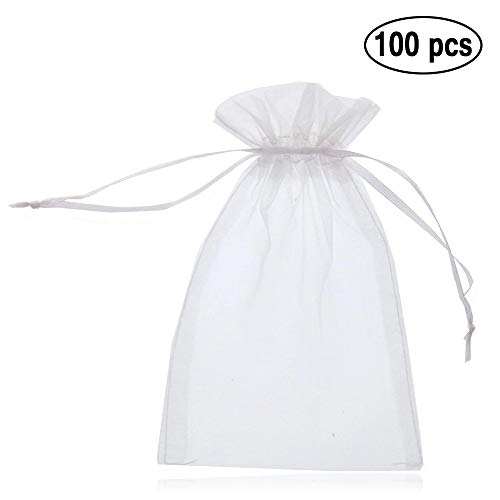 33a88a2fed76 Amison 100Pcs 5x7 inches Sheer Drawstring Organza Jewelry Pouches Wedding  Party Christmas Favor Gift Bags
