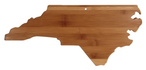 """Totally Bamboo State Cutting & Serving Board – """"NORTH CAROLINA"""", 100% Organic Bamboo Cutting Board, Extremely Strong and Durable Perfect for Cooking, Entertaining, Décor and Gift Set. Designed in USA"""