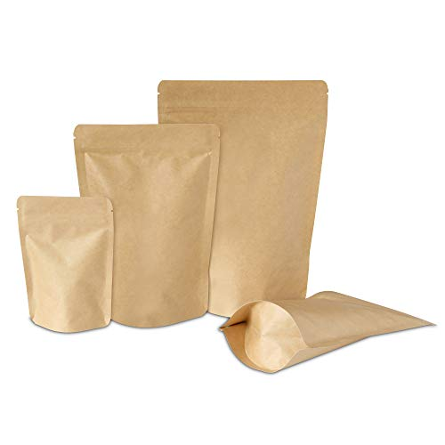"""Kraft Stand-Up Pouch Bags with Aluminum, Zip Lock, and Tear Notch - Reusable, Heat-Sealable 
