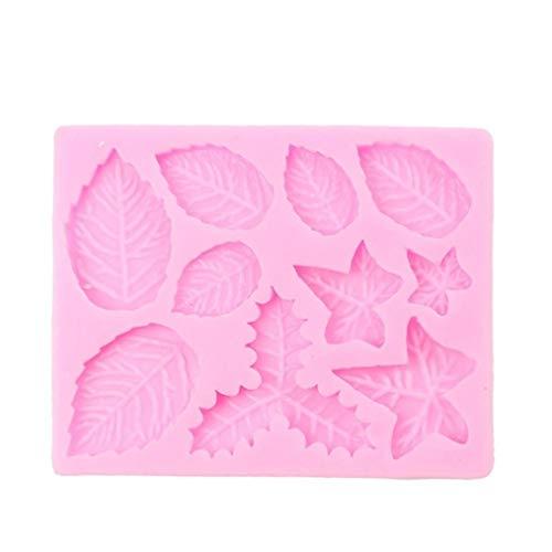 Coohole Creative 3D Silicone Leaves Shape Chocolate Cake Fondant Mould Baking Sugar craft Decorating Mold Tool Pink