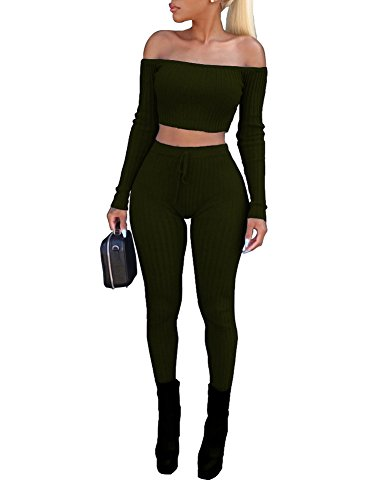 Cheap Sexy Outfits (Vamvie Women's Sexy 2 Pieces Off Shoulder Long Sleeve Crop Top+Long Pant Bodycon Jumpsuit Skinny Romper Army Green XL)