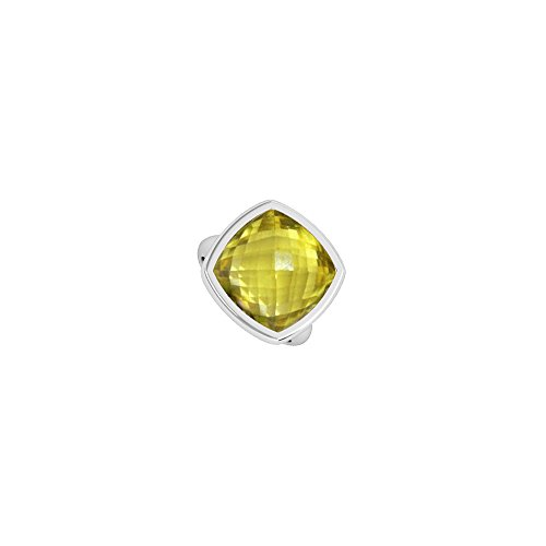 Lemon Quartz Ring in Cushion Cut 3 Carat in 14K White Gold Bezel Setting