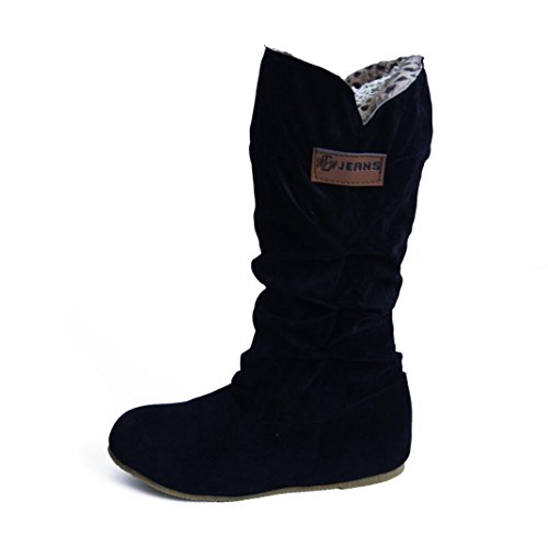 AMA(TM) Women Knee High Boots Flat Heel Motorcycle Boot Autumn Winter Shoes Black