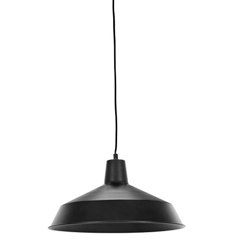 Globe Electric Barnyard 1-Light 16' Industrial Warehouse Plug-in Pendant, Black 15' Cord, Matte Black Finish, in-Line On/Off Switch, 65151