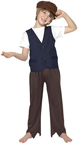 Smiffys Children's Victorian Poor Peasant Boy Costume, Waistcoat and Hat, Ages 7-9, Size: Medium, Color: Blue, 33707 -