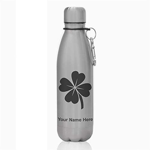 Water Bottle, Four Leaf Clover, Personalized Engraving Included