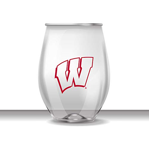 JAYMAC Wisconsin Badgers Stemless Shatterproof Heavy Duty Wine or Beverage Glass Set of 4