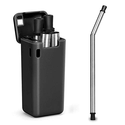 Collapsible Reusable Stainless Steel Straw Portable straw Foldable straw Telescopic Folding Adjustable straw with Case Holder Keychain and Cleaning Brush (Black)