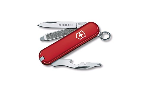 Personalized Swiss Army Rally 58mm Pocket Knife - Red with Free Engraving (58mm Swiss Red Army Knife)