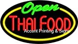 Thai Food Open Flashing Handcrafted Real GlassTube Neon Sign