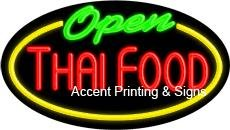 Thai Food Open Flashing Handcrafted Real GlassTube Neon Sign by Accent Printing & Signs