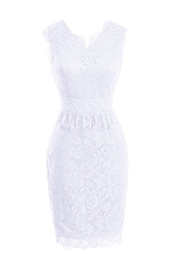 Floral Party Evening Short Formal Dasior Lace White Dress Sheath UvqEfRwZ6