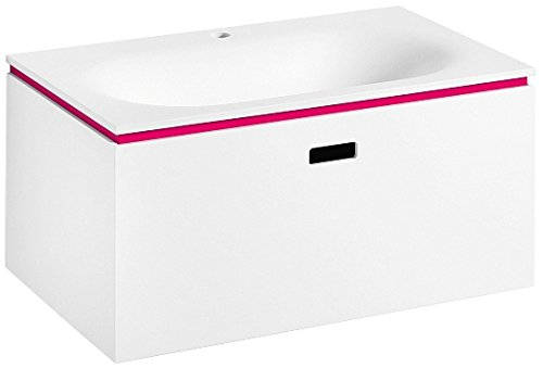 Ciacole 8062.16 Wall Mounted Bathroom Mattstone Panel Vanity Cabinet Sink with One Hole Drill without Overflow, 27.6