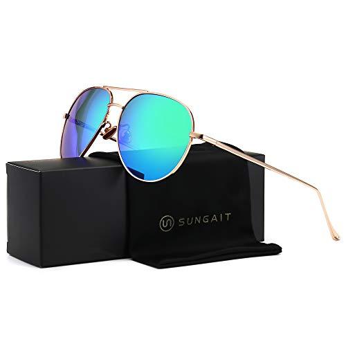 SUNGAIT Women's Lightweight Oversized Aviator Sunglasses - Mirrored Polarized Lens (Light-Gold Frame/Green Mirror Lens, ()