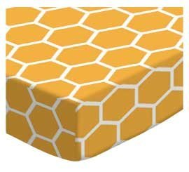 SheetWorld Fitted Sheet (Fits BabyBjorn Travel Crib Light) - Mustard Yellow Honeycomb - Made In USA