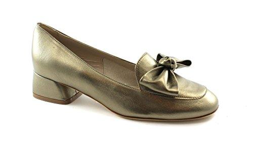 Melluso M001 Alba Gold Schuhe Frau decollet Mokassin Ferse Bogen Leder Oro
