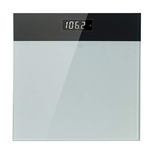 RIVIO Digital Body Weight Bathroom Scale with Large LCD Backlight Display, High Precision Measurements, 440Ibs/31st/200kg Capacity(White)