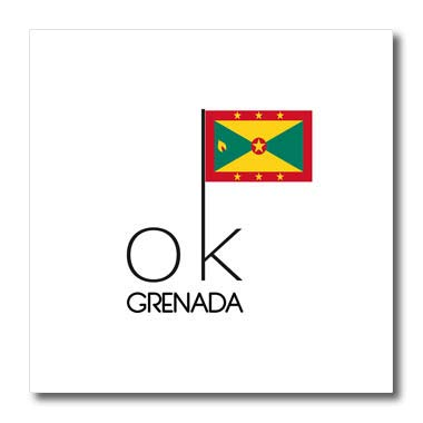 3dRose Alexis Design - OK Country - Striking Text OK Grenada and The National Flag on White Background - 8x8 Iron on Heat Transfer for White Material (ht_319196_1)