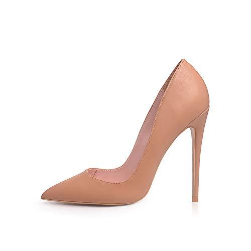 Elisabet Tang Women Pumps, Pointed Toe High Heel 4.7 inch/12cm Pump Women MatteTAN 9 Brown