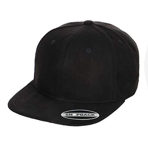 Shinabro Suede Feel and Look Cotton Plain Blank New Generation Hip Hop Flat Bill Brim Baseball Cap Hat Classic Black