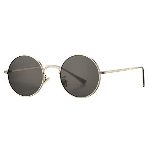 COASION Vintage Round Metal Sunglasses John Lennon Style Small Unisex Sun Glasses (Silver Frame/Grey Lens) (Grey Vintage Lens)