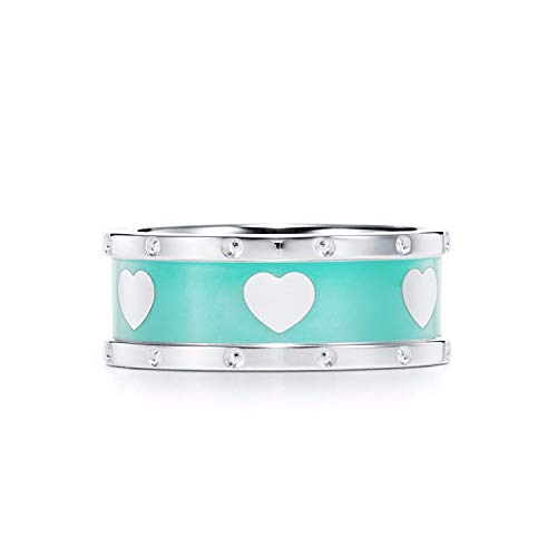 DLNCTD Silver S925 Classic Blue Enamel Heart Ring Fashion Young Lady Girl Student Popular Style DIY Korean Style Jewelry Gift Ring,8