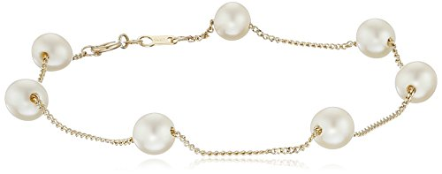 14k Yellow Gold 5.5-6mm Cultured Freshwater Pearl Tin Cup Bracelet 14k Yellow Gold Tin Cup
