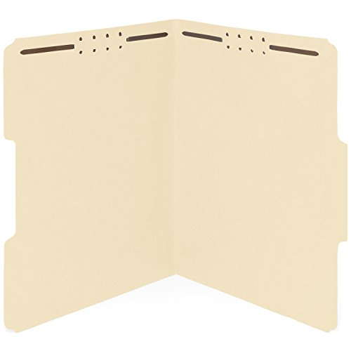 File Manila Folders Medical (50 Manila Fastener File Folders- 1/3 Cut Reinforced tab- Durable 2 Prongs designed to organize standard medical files, law client files, office reports– Letter Size, Manila, 50 PACK)