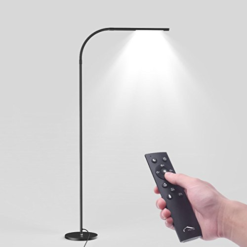 (Joly Joy LED Modern Floor Lamps, Flexible Gooseneck Standing Reading Light W/Stable Base, 4 Color & 5 Brightness Dimmer, Touch & Remote Control, for Living Room, Chair, Couch, Office Task (Black))
