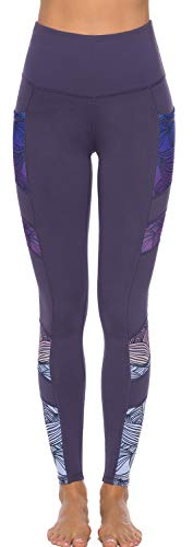 Persit Women's Printed Yoga Pants with 2 Pockets, High Waist Non See-Through Tummy Control 4 Way Stretch Leggings 2