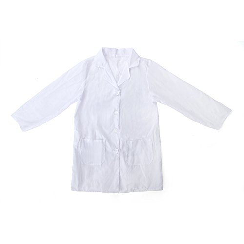 TopTie Kids White Lab Coats Child Costume for Scientists or Doctors, 2 Pockets-White-5/6