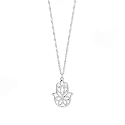 Boma Jewelry Sterling Silver Hamsa Hand Necklace, 18 Inches