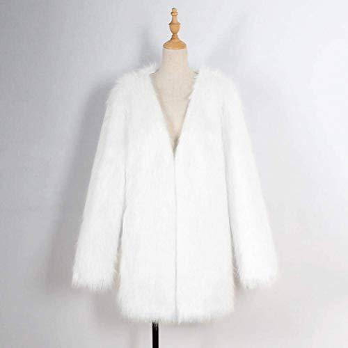 De Automne Mode Cardigan Qualit Vintage Warm Blouson Blanc paisseur lgant en Femme Longues Veste Haute Manche Fourrure breal Manches Fourrure Manteau Uni Synthtique Fourrure Jacken Hiver 0qFREY