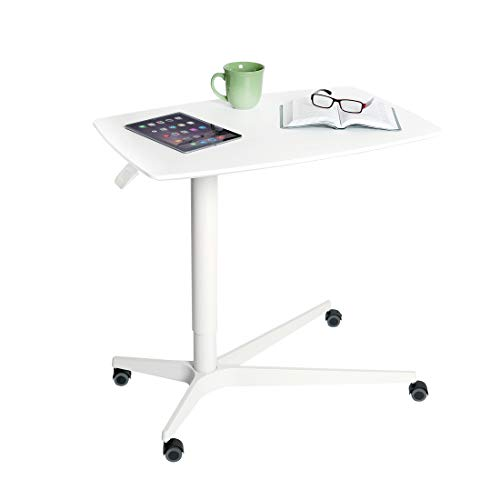 """Seville Classics Airlift 30"""" Gas-Spring Height-Adjustable Overbed Mobile Medical Bedside Table Cart for Hospitals and Homes, White"""