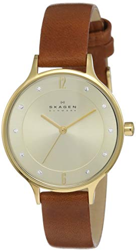 (Skagen Women's Anita Quartz Stainless Steel and Leather Casual Watch, Color: Gold-Tone, Brown (Model: SKW2147))