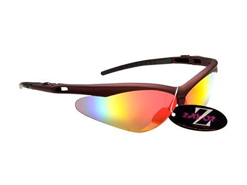 Rayzor professionnel léger UV400 rouge foncé Sport Wrap Cricket Lunettes de soleil, avec un vent Bouclier-Rouge / Black Iridium Revo antireflet des verres
