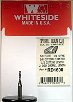 Whiteside Router Bits RD1600 Standard Spiral Bit with Down Cut Solid Carbide 1/8-Inch Cutting Diameter and 1/2-Inch Cutting Length Downcut Spiral Router Bit