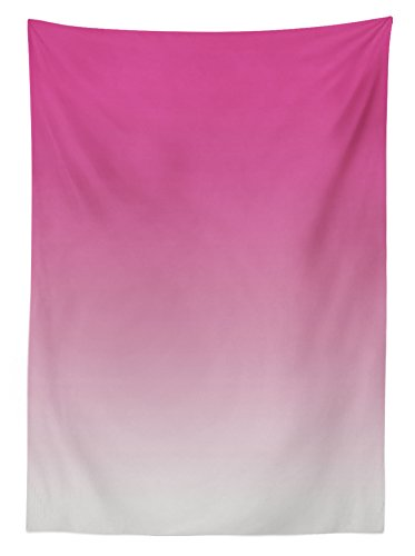 """Ambesonne Ombre Tablecloth, Hot Pink Candy and Cream Girly Elements Inspired Ombre Digital Design Art Print Modern, Rectangular Table Cover for Dining Room Kitchen Decor, 60"""" X 90"""", Pink"""