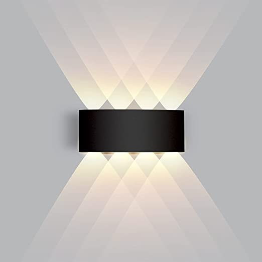 LED Wall Sconce 8W, Modern Wall Sconce Aluminum Up and Down Indoor/Outdoor Black Warm Light 3000K , CANMEIJIA Wall Sconce Lighting for Hallway Bedroom Bathroom Porch Living Room Stairway Hotel