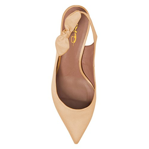Pointed Kitten Sandal Women Slip XYD With Mid Dress On Heel Shoes Bows Toe Pumps Slingback Tan wEYwFqAp