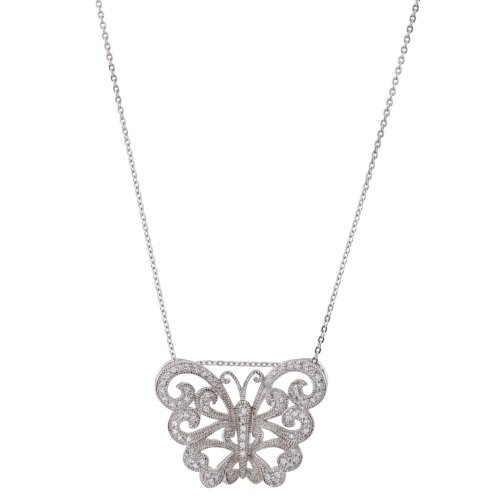Rhodium Plate Sterling Silver Vintage Style Butterfly 'Wishes Fulfilled' CZ Necklace, 18'' by The Men's Jewelry Store (for HER)