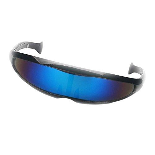 CUTICATE Futuristic Cyclops Cyberpunk Sunglasses Silver Mirrored Mono Lens Visor - Black Frame Blue Mirrored, as described