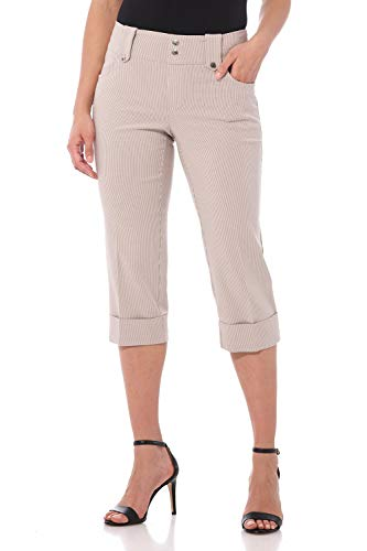 Rekucci Women's Ease in to Comfort Fit Modern Classic Cuffed Capri (4,Khaki/White Stripe)