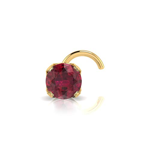Genuine Ruby Nose Ring - 2mm 0.03 Carat Ruby Stud Nose Ring In 14K Yellow Gold