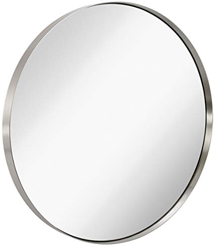 Hamilton Hills Contemporary Brushed Metal Silver Wall Mirror | Glass Panel Silver - Mirrors Gold Silver Bathroom And